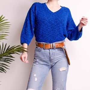 Vintage 80s nubby knit minimal draped sweater